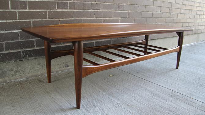 Mid Century Modern Bassett Artisan Walnut Surfboard Coffee Table By