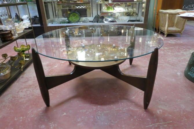 Vintage MCM round glass top walnut coffee table