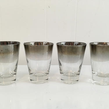 Vintage Silver Ombre Glasses Dorothy Thorpe Fade Double Rocks 1950s Mad Men Retro Barware Cocktail Mid-Century Modern by CheckEngineVintage