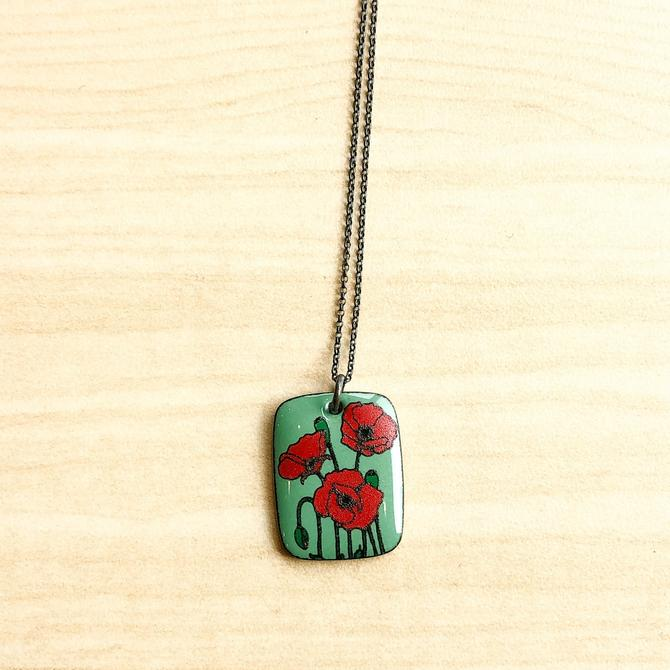 Teal Enamel Pendant with Red Poppies