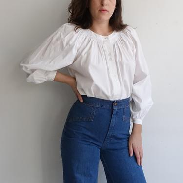 Vintage Smocked Cotton Blouse with Balloon Sleeves/ 1980s White Folk Blouse/ Size Large by bottleofbread