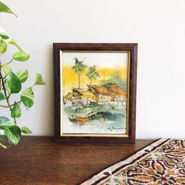 Vintage Vietnamese River Scene Oil Painting by TheDistilleryVintage