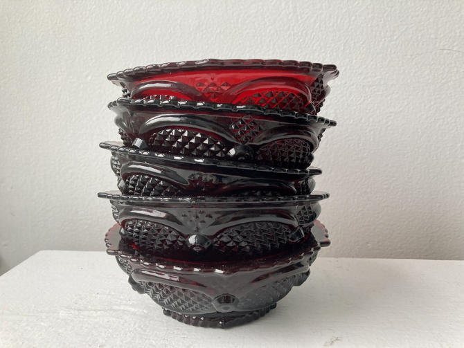 Avon Cape Cod Ruby Red Berry Bowls Set of Five by RavenPearVintage