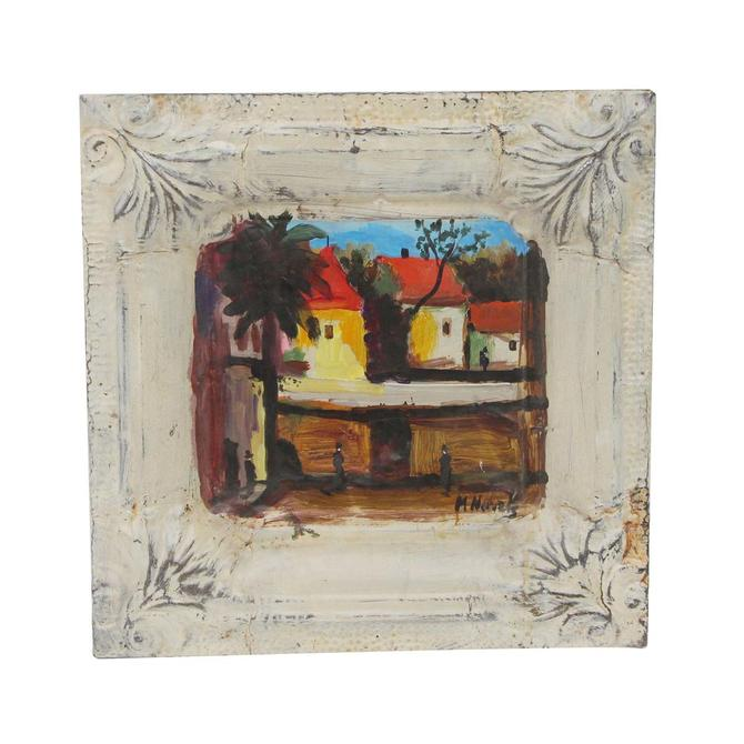 Handmade Red Roof Cottages Mladen Novak Tin Panel Painting