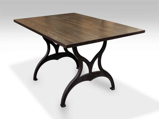 Custom Ebony Industrial Floor Table with Brooklyn Legs