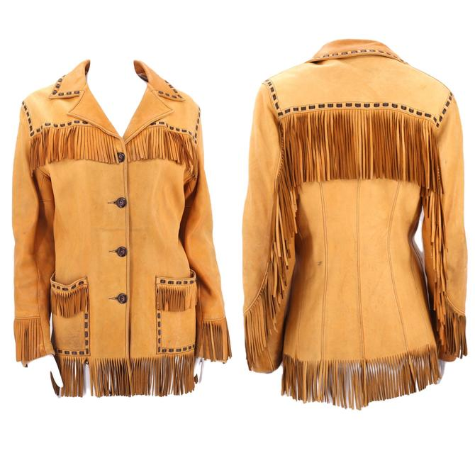 40s buckskin leather western fringe jacket M  / vintage 1940s tailored pin up cowgirl tan fringed jacket 50s 8-10 by ritualvintage