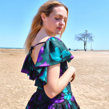 Vintage 80s Party Dress Graphic Print Low Back Dress in Violet, Teal and Black Print by LavenderJosephine