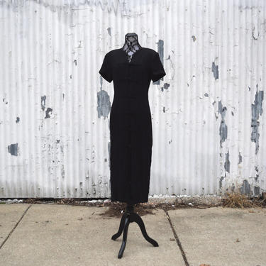 80s Vintage Dress | Black Dress | Oriental Dress | Kung Fu Dress | Medium Dress M | Size 8 Dress | Midi Dress | 80s Theme Party | Cosplay by aphroditesvintage