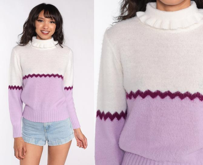 Purple Striped Sweater 70s Sweater Knit Pullover Mock Neck Sweater Lavender 80s Bohemian Hippie Vintage Small by ShopExile