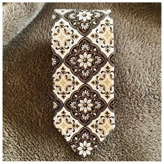 Black, White, & Gold Skinny Tie by foxglovebags
