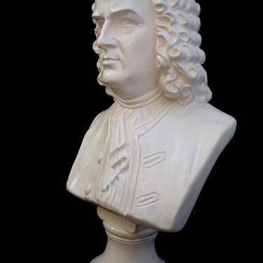 "Vintage 18"" Classic Bach Plaster Bust |Johann Sebastian Bach Head Torso Statue | Oddity Art | Figurative Composer Display Bust by ELECTRICmarigold"