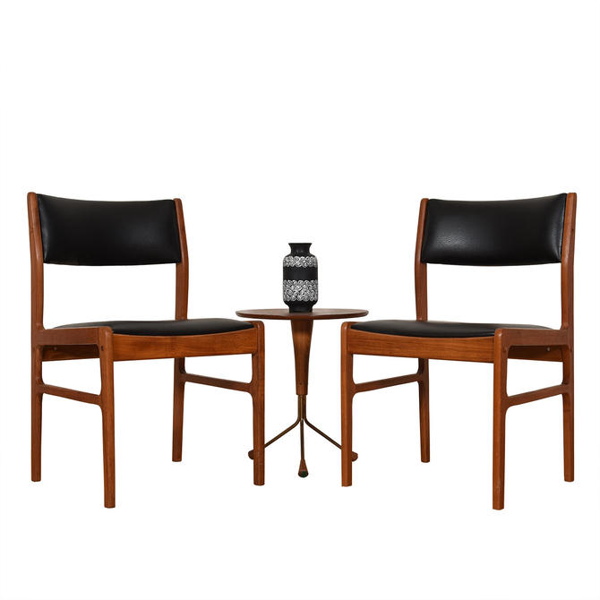 Pair of Danish Modern Black and Teak Accent Chairs