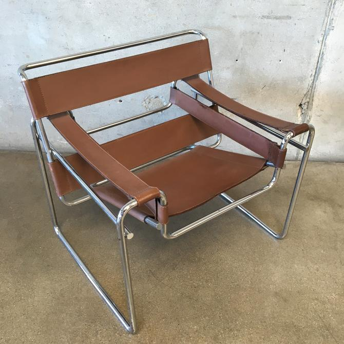 Cognac Leather Wassily Chair by Marcel Breur for Knoll