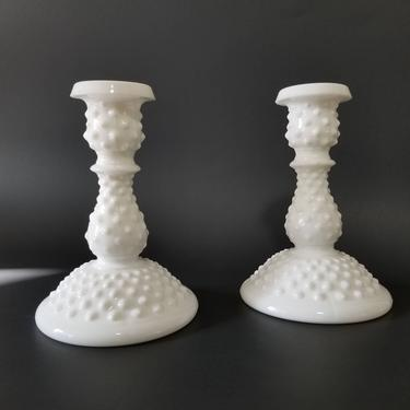 Vintage Milk Glass Candlestick Holders / Fenton White Hobnail Candle Holders / Large Taper Candle Holder / Mid Century Holiday Table Decor by SoughtClothier