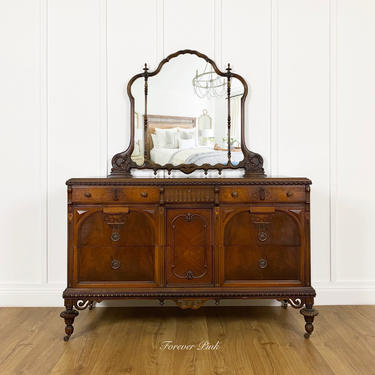 NEW - Gorgeous Antique Solid Wood Dresser with Mirror, Vintage Bedroom Furniture, Antique Bureau, Chest of Drawers by ForeverPinkVintage