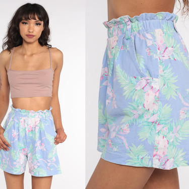 Floral Shorts 90s Paper Bag Shorts Baggy Shorts Blue-Purple Cotton Summer Wide Leg High Waisted Retro Vintage 1990s Extra Small xs s by ShopExile