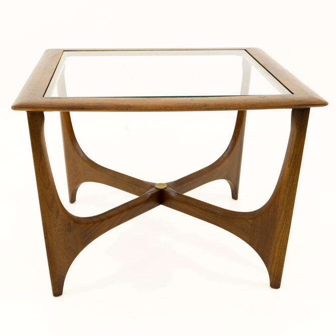Adrian Pearsall for Lane Mid Century Walnut & Glass Sculptural Square Side End Table - mcm by ModernHill