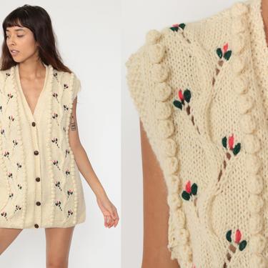 70s Boho Vest Cream Wool Vest Floral Vest Pointelle Sleeveless Sweater Vest Top Knit Winter Vest Hippie Vintage Open Front Large xl l by ShopExile