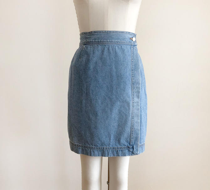 Light Blue Denim Wrap Skirt - 1990s by LogansClothing