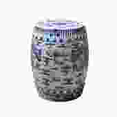 Chinese Blue & White Porcelain Round Double Dragons Theme Stool cs5281S