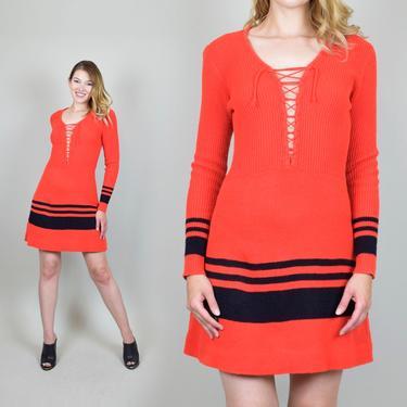 1970's Lace Up Knit Sweater Dress by WisdomVintage