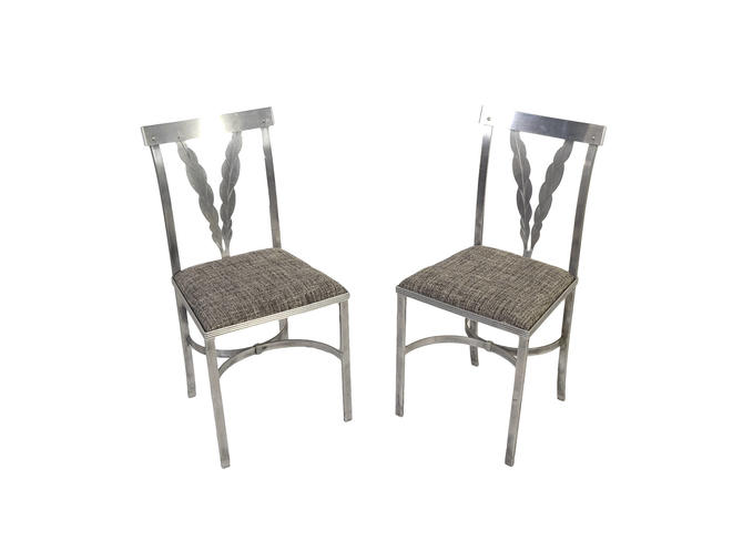 French Art Deco Aluminum Dining Chairs by HearthsideHome