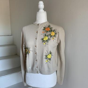 1960s Unworn Sweater Rockabilly Cutie Embroidered Orlon 40 Bust Vintage by AmalgamatedShop