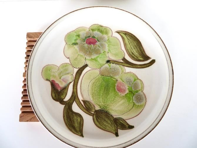 """Vintage Denby Langley Troubadour Dinner Plate, 10"""" Green Floral Stoneware Plate From England, 5 available by HerVintageCrush"""