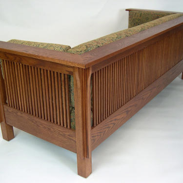 Mission Arts And Crafts Stickley Style Prairie Spindle Settle Sofa by DaleMartinFurniture
