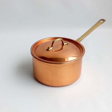 Small copper saucepan with lid Tin lined copper pot Vintage copper cookware Farmhouse decor Rustic kitchen Cottage core by BelleCosine
