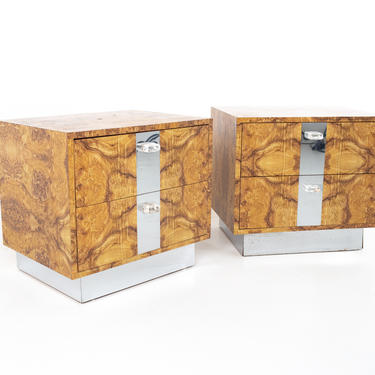 Mid Century Burlwood Laminate Lucite and Chrome Nightstands - Pair - mcm by ModernHill