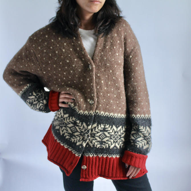 Extra Slouchy Wool Alpaca Cardigan fits M - XL by BeggarsBanquet