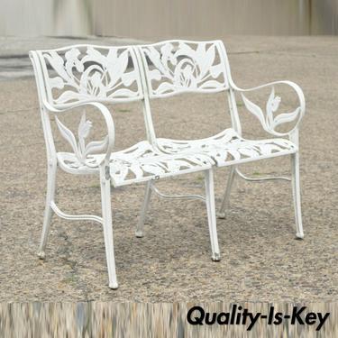 Vintage Cast Aluminum Tulip Flower Garden Patio Bench Seat Attr. to Molla