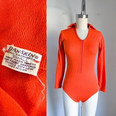 Vintage 1960s Danskin Orange Bodysuit / S by MsTips