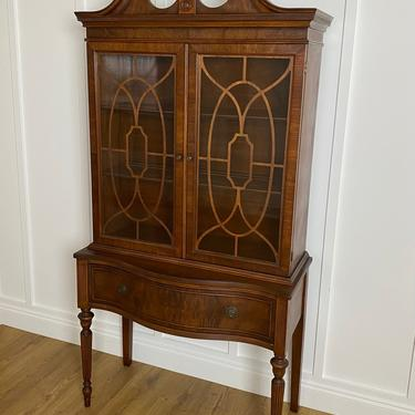NEW - Vintage Hutch with Glass Doors, Fretwork, Antique China Cabinet by ForeverPinkVintage