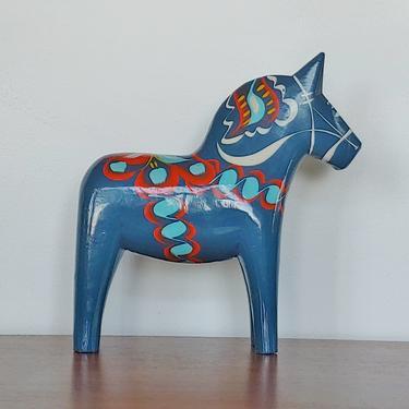 Vintage Very Large Swedish Folk Art Handpainted Blue Dala Horse G.A. Olsson by ModandOzzie
