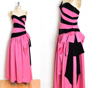 vintage 80s dress VICTOR COSTA evening gown prom party strapless velvet satin S steampunk clothing bow fuchsia black by huncamuncavintage