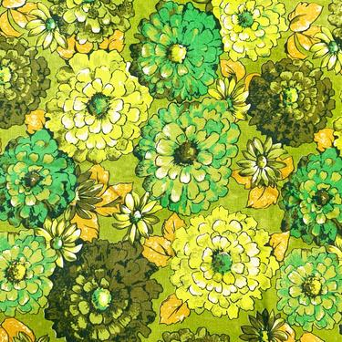 Vintage Floral Green Tablecloth Flower Print Pattern Mid-Century 1970s Retro Table Cloth Dining Room Kitchen Home Decor Linen 70s by CheckEngineVintage