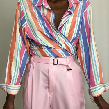 Vintage Oversized Rainbow Pastel Cotton Blouse