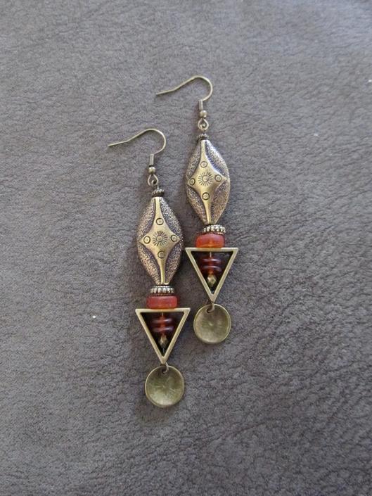 Orange sea glass earrings, boho chic earrings, tribal ethnic earrings, bold earrings, long brass earring, unique artisan earring, bohemian 2 by Afrocasian