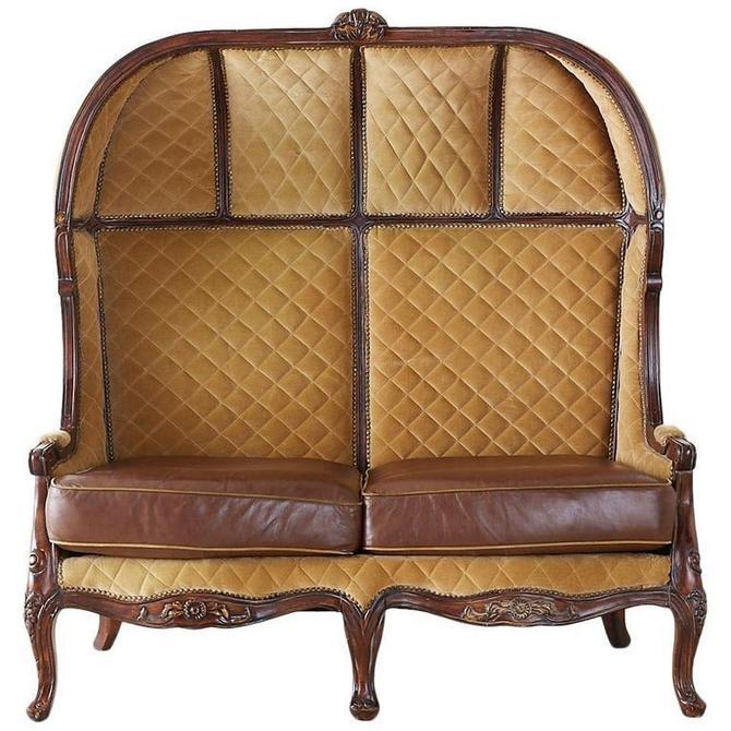 English Regency Style Porter's Settee or Canopy Settee by ErinLaneEstate
