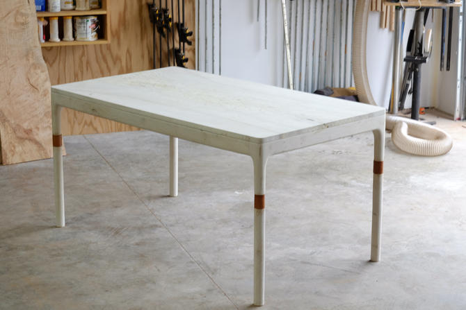 Modern Danish Bleached Maple Dining Table, Leather Inlay by BeautyBreadWoodshop