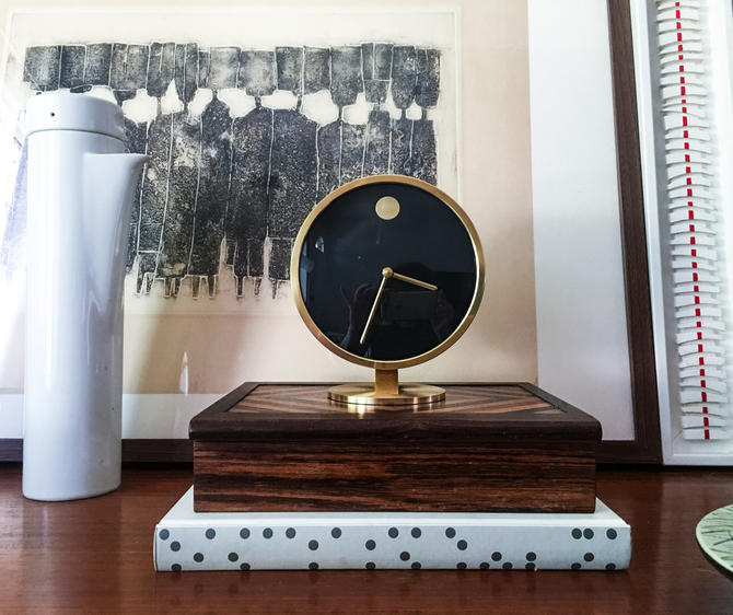 Howard Miller Solid Brass Museum Desk Clock Vintage Mid Century Modern  George Nelson Germany by CaribeCasualShop