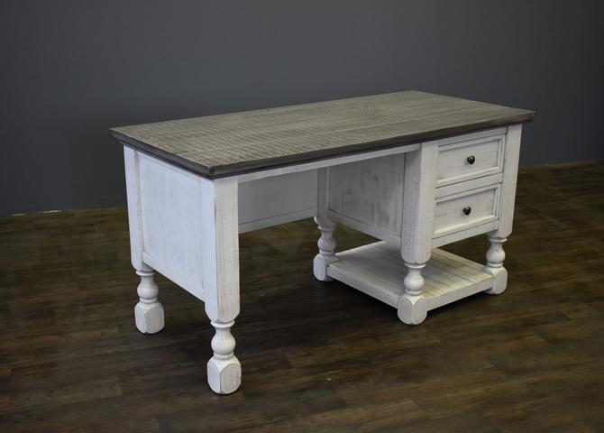 Rustic Framhouse Style  Solid Wood 2 Drawer Desk - White / Gray by RusticShop1