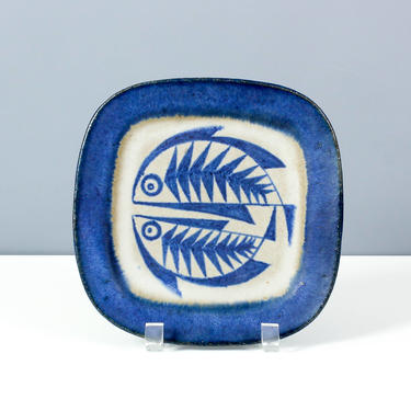Thomas Toft Decorative Plate with Fish - Mid Century Danish Pottery - 8 inches by ThePapers