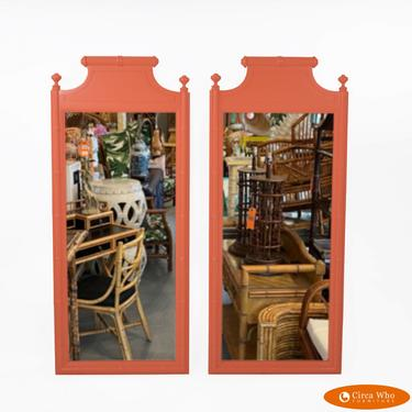 Pair of Faux Bamboo Orange Mirrors