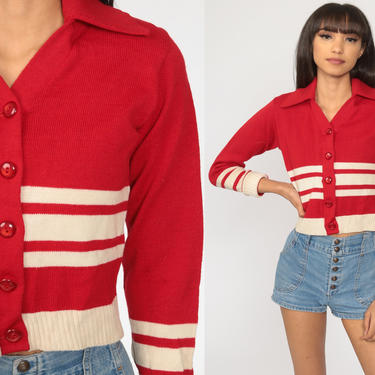 Red Cropped Cardigan 70s Sweater Striped White Wool Cardigan Boho Crop Sweater Vintage Retro 1970s Small by ShopExile