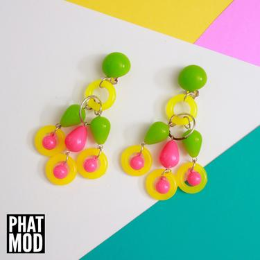 Cool Vintage 80s 90s Neon Yellow Green Pink White Beaded Chandelier Drop Earrings by RETMOD