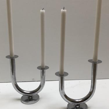 Pair of Chase U-base Candlesticks