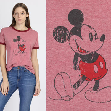 90s Mickey Mouse Ringer T Shirt - Medium   Vintage Red Disney Cartoon Graphic Tee by FlyingAppleVintage